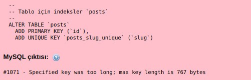 Specified key was too long, max key length is 767 bytes